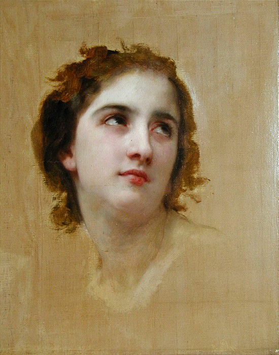 Study of a Young Girls Head. Adolphe William Bouguereau