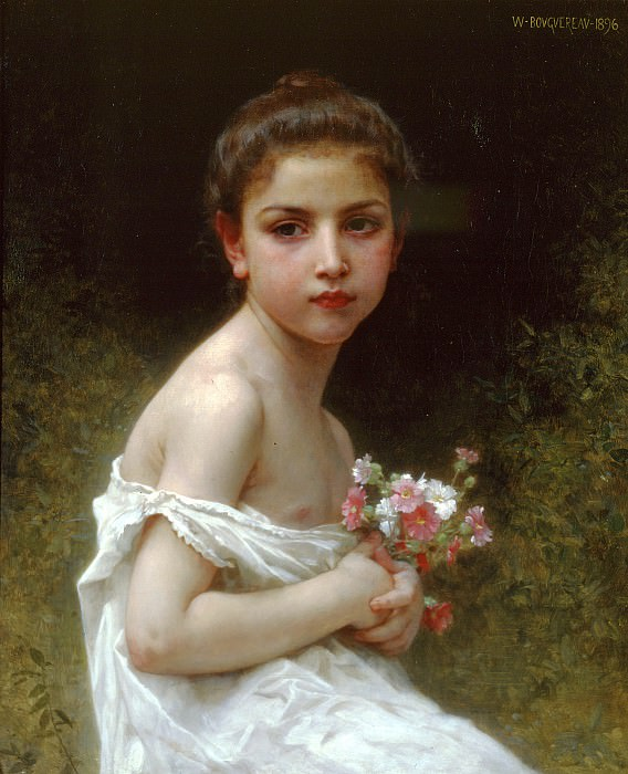 Little girl with the bouquet. Adolphe William Bouguereau