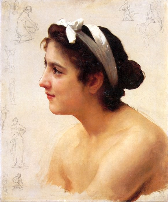 Study of Girl. Adolphe William Bouguereau