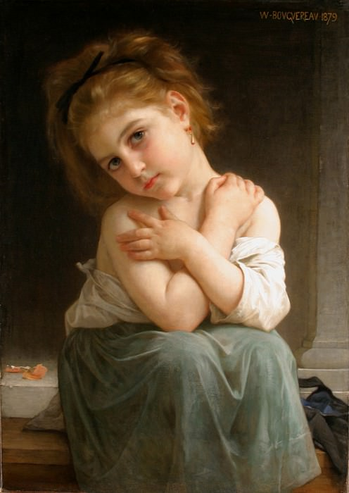 Chilly girl. Adolphe William Bouguereau