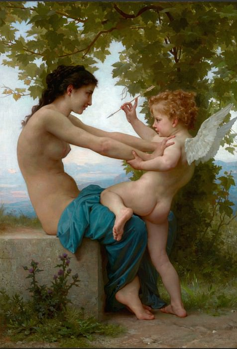 A Young Girl Defending Herself against Eros. Adolphe William Bouguereau