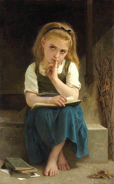The difficult lesson. Adolphe William Bouguereau