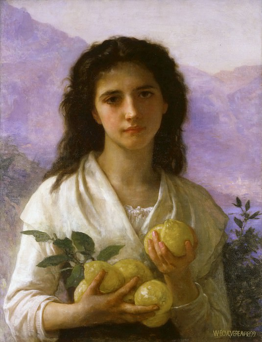 Girl Holding Lemons. Adolphe William Bouguereau