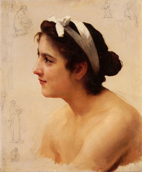 Study of a young woman. Adolphe William Bouguereau