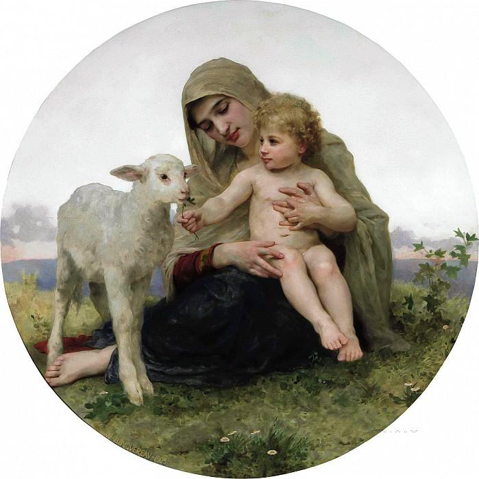 Virgin and Lamb. Adolphe William Bouguereau