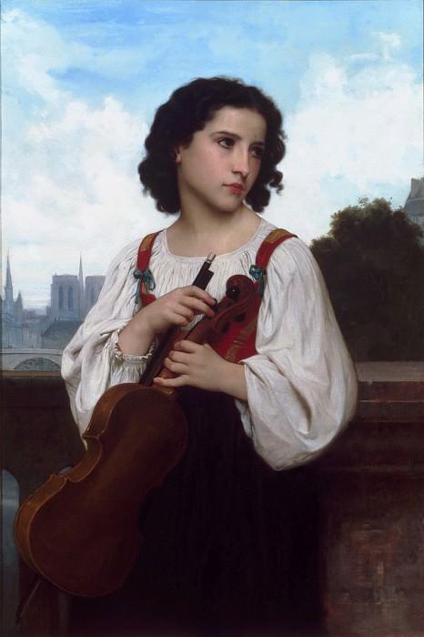 Одна во всем мире (Уличная скрипачка на фоне Парижа). Адольф Уильям Бугро