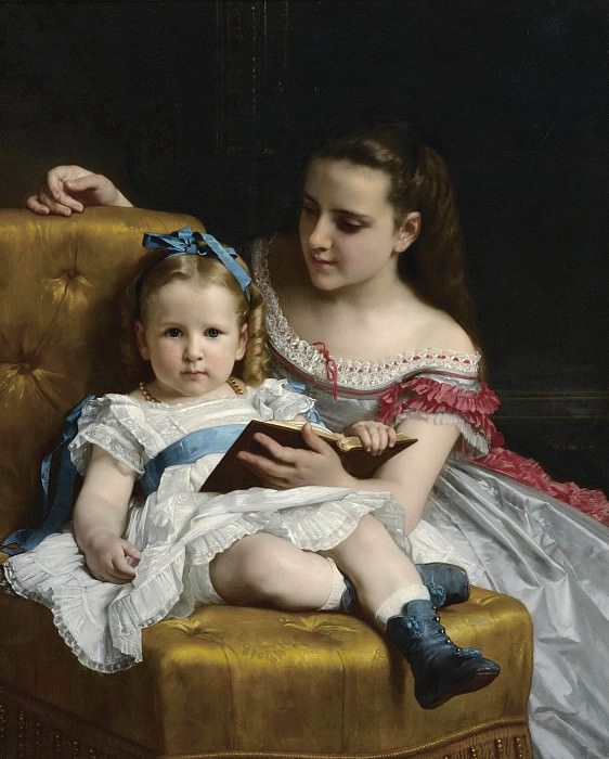 A portrait of Eva and Frances Johnston. Adolphe William Bouguereau