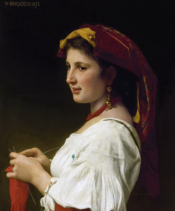 The knitter. Adolphe William Bouguereau