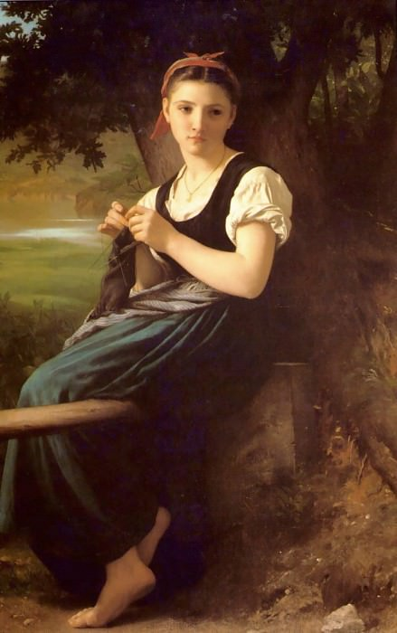 The Knitting Girl. Adolphe William Bouguereau