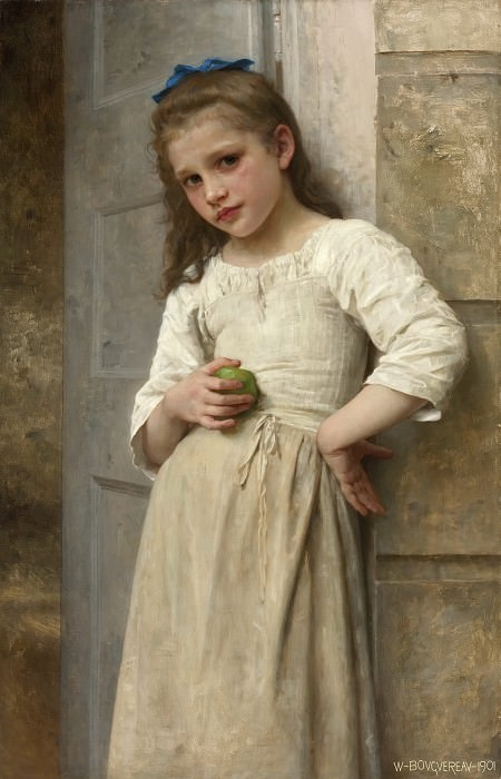 YVONNE AT THE DOOR. Adolphe William Bouguereau
