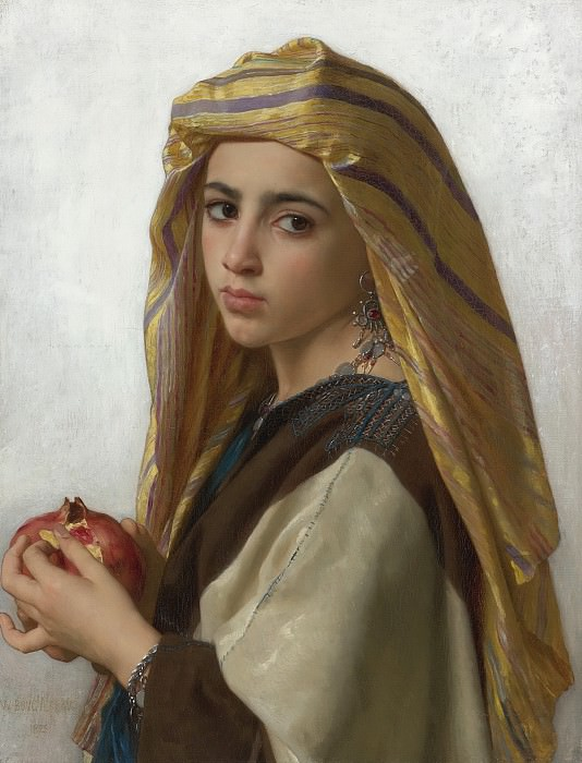 GIRL WITH A POMEGRANATE. Adolphe William Bouguereau