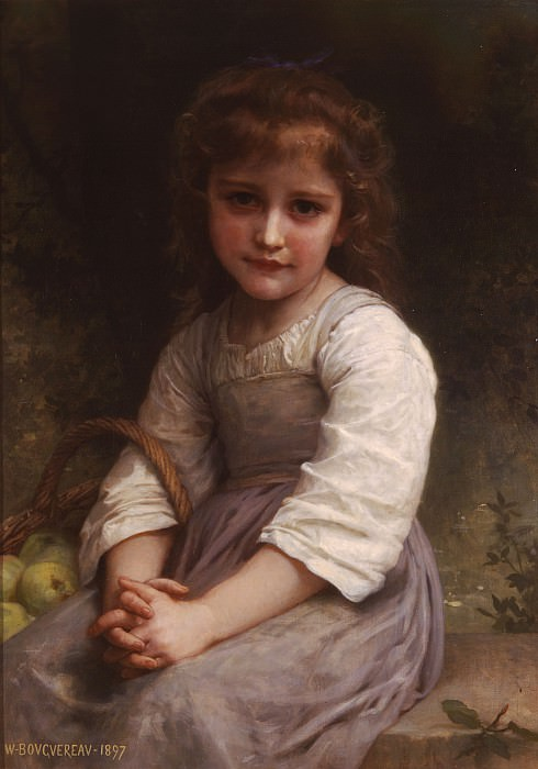 Little Girl with a Basket of Apples. Adolphe William Bouguereau