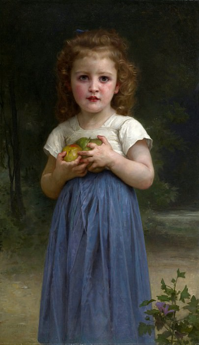 Little girl holding apples in hands. Adolphe William Bouguereau