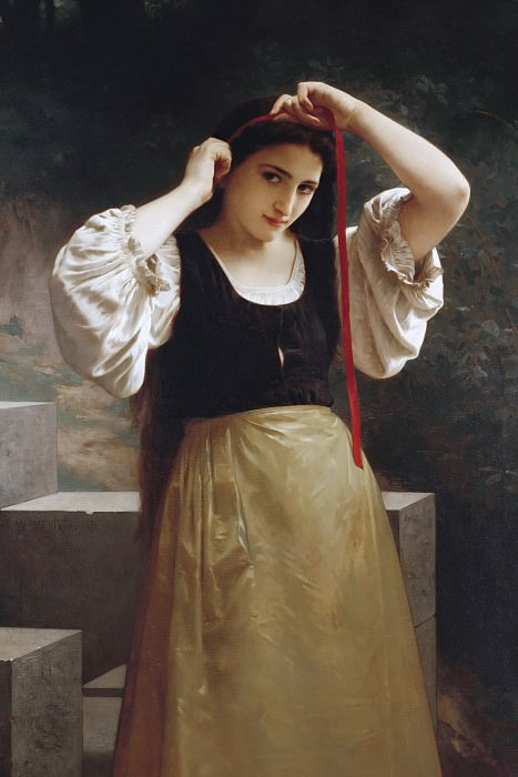 The red ribbon. Adolphe William Bouguereau