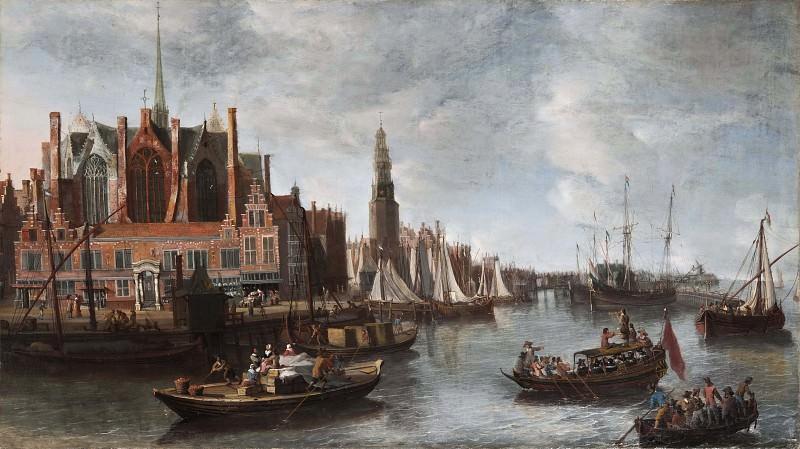 View of Nieuwe Kerk in Amsterdam. Anthoine Beerstraaten