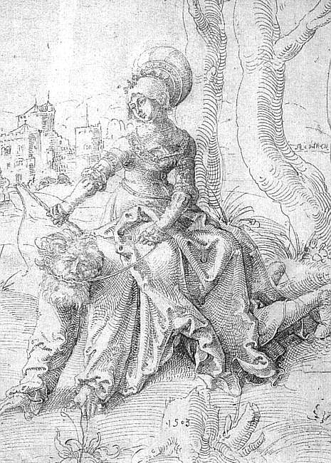 Phyllis and Aristotle, pen and black ink, Muse. Hans Baldung Grien