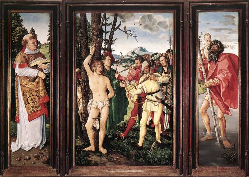 Алтарный образ - Святой Себастьян (триптих). Ханс Бальдунг Грин