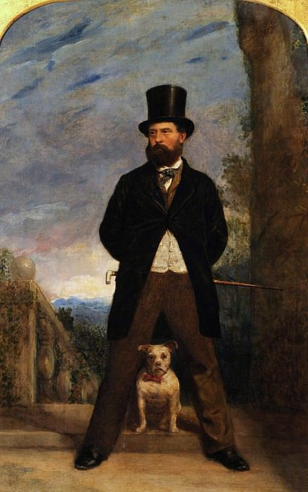 Self-Portrait with his Dog, Madame Sacchi. Samuel Bough