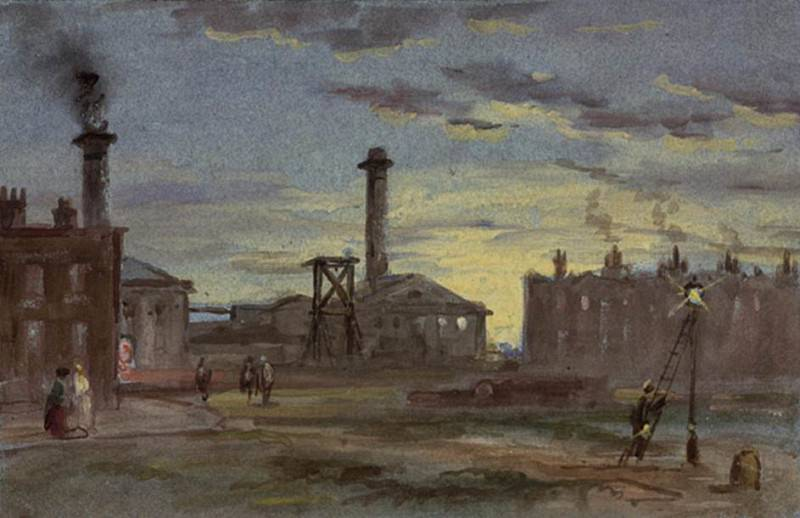 Gasworks at Sunset. Samuel Bough