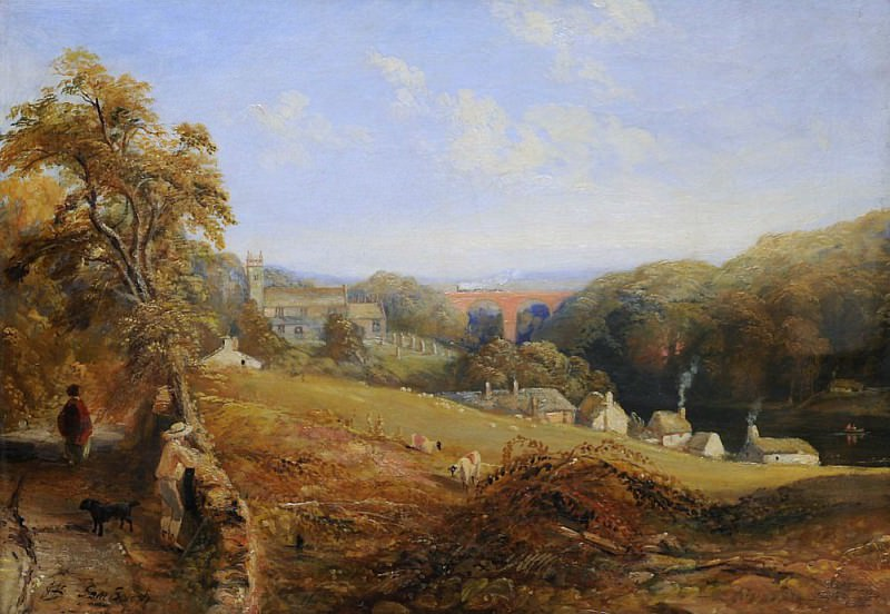 Wetheral - View of the River Eden Showing Wetheral Church and Viaduct, and Corby Ferry. Samuel Bough