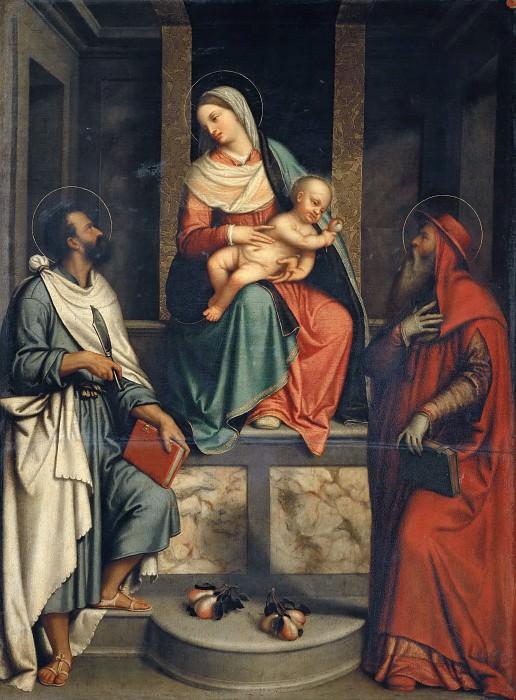 Мадонна с грушей (Мадонна с Младенцем и святые Иероним и Варфоломей). Моретто да Брешиа (Алессандро Бонвичино)