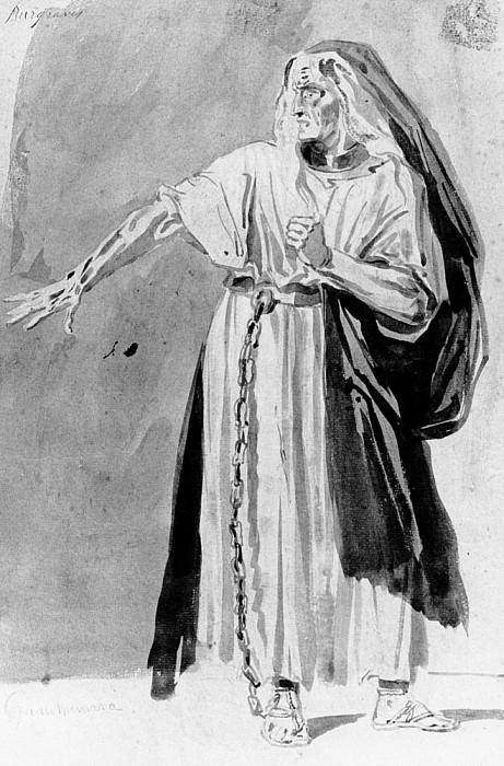 Costume design for Les Burgraves by Victor Hugo (1802-85). Louis Boulanger