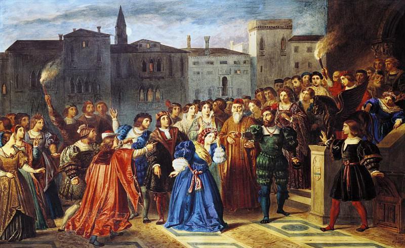 Scene of Confrontation from Lucretia Borgia by Victor Hugo. Louis Boulanger