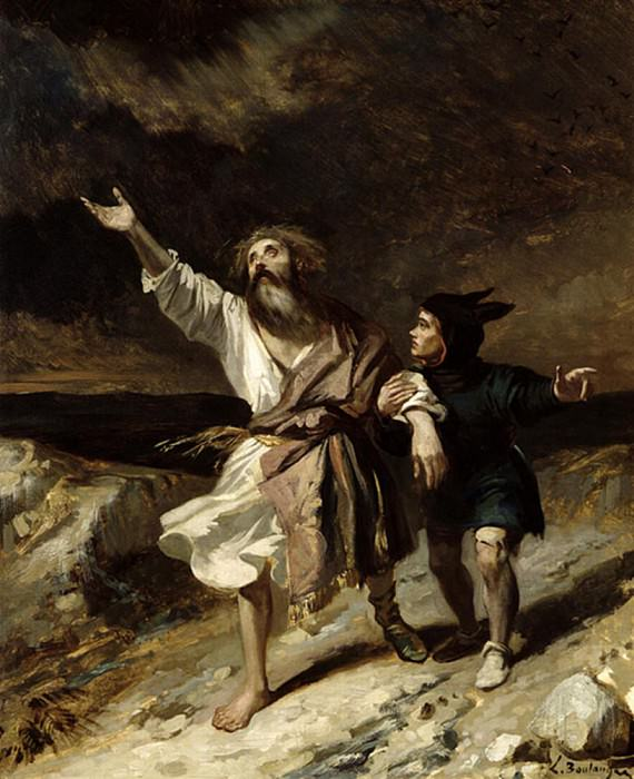 King Lear and the Fool in the Storm Act III Scene 2 from King Lear by William Shakespeare. Louis Boulanger