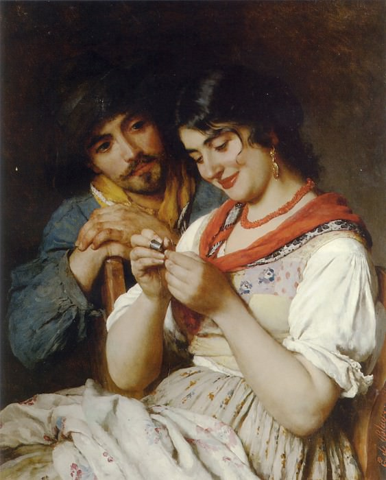 The Seamstress. Eugene De Blaas