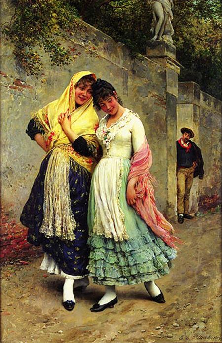 The Flirtation. Eugene De Blaas