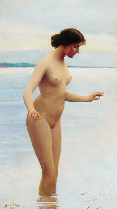 In the water. Eugene De Blaas