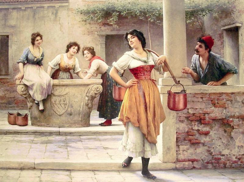 Flirtation at the Well. Eugene De Blaas