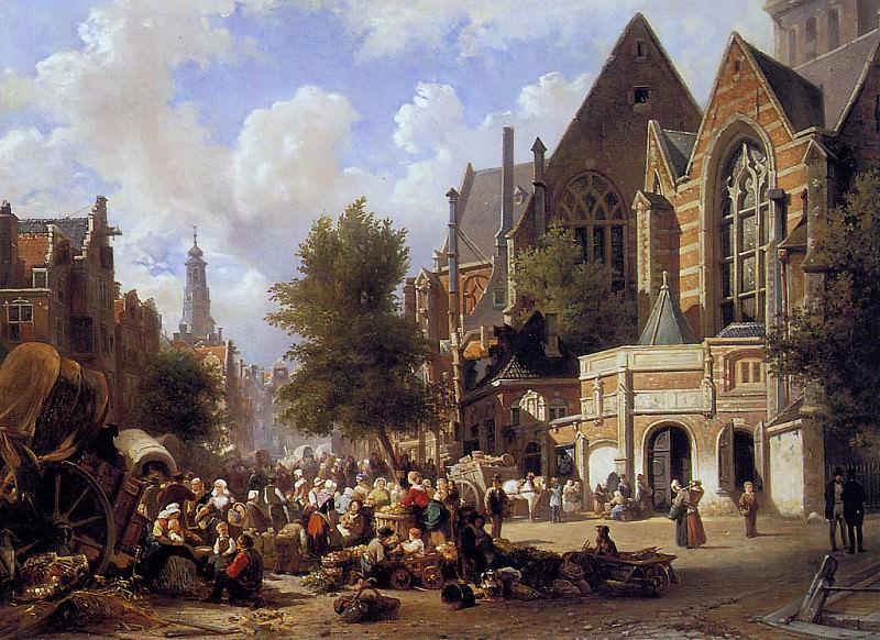 Marketscene in Amsterdam. Elias Pieter Van Bommel