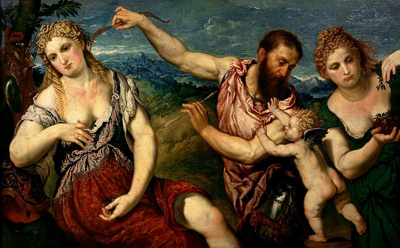 Allegory with the love of Mars and Venus. Paris Bordone