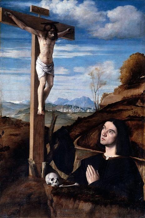 Преданный молится перед Распятием. Витторе (Витторе ди Маттео) Беллиниано