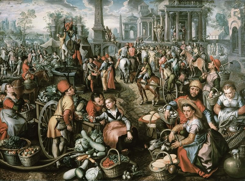 Market Scene, Ecce Homo, the Flagellation and the Carrying of the Cross. Joachim Beuckelaer