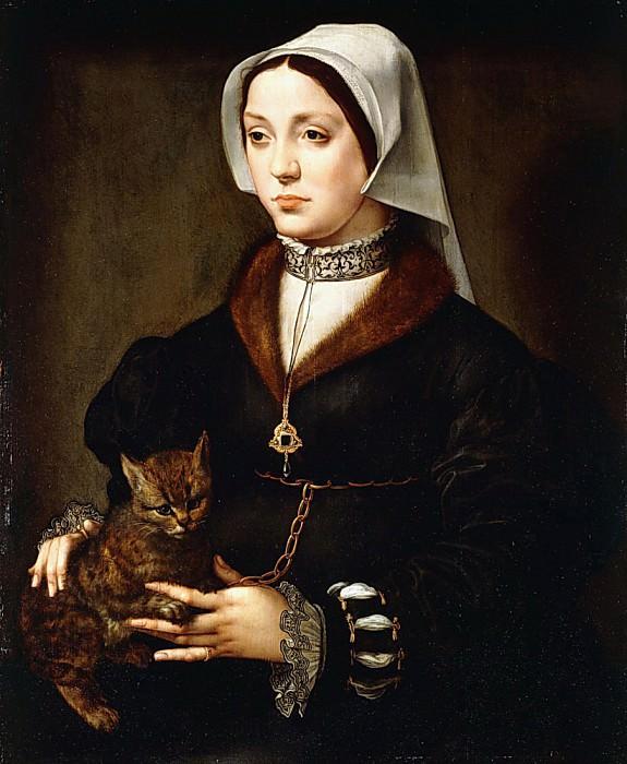 Portrait of a Lady, three-quarter-length, Wearing Dark Costume holding a Cat. Ambrosius Benson