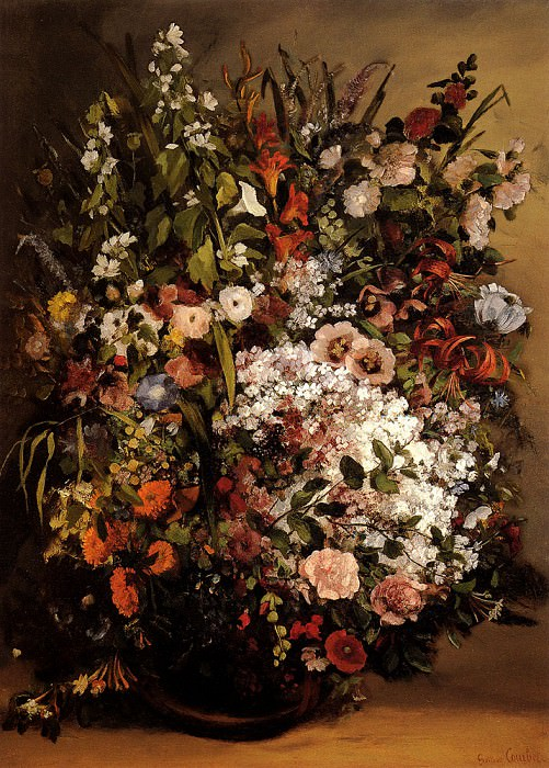 Bouquet Of Flowers In A Vase. Gustave Courbet