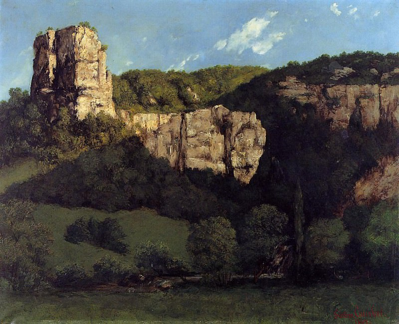 Landscape Bald Rock in the Valley of Ornans. Gustave Courbet