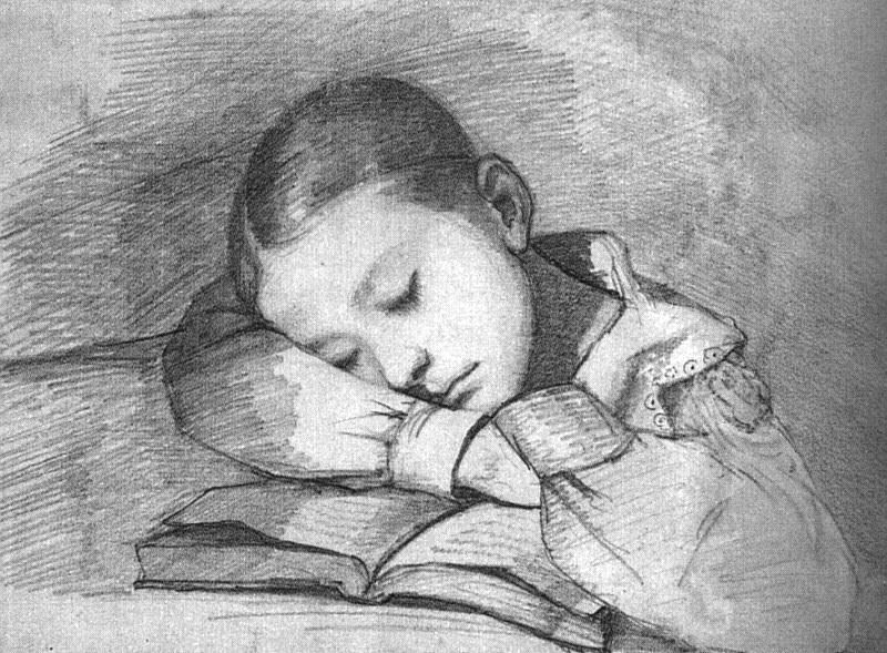 Portrait of Juliette Courbet as a Sleeping Child. Gustave Courbet