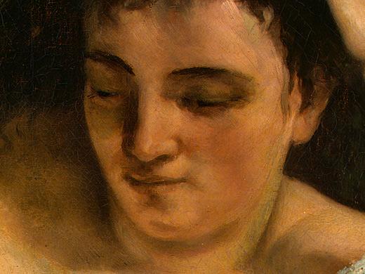 Читающая молодая женщина, фрагмент 2, 1866-68. Гюстав Курбе