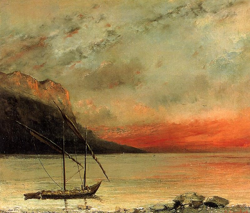 Sunset on Lake Leman. Gustave Courbet