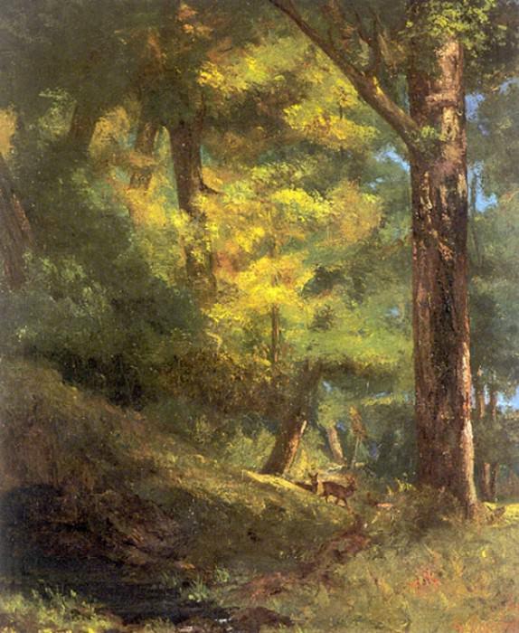 Две косули в лесу. Гюстав Курбе
