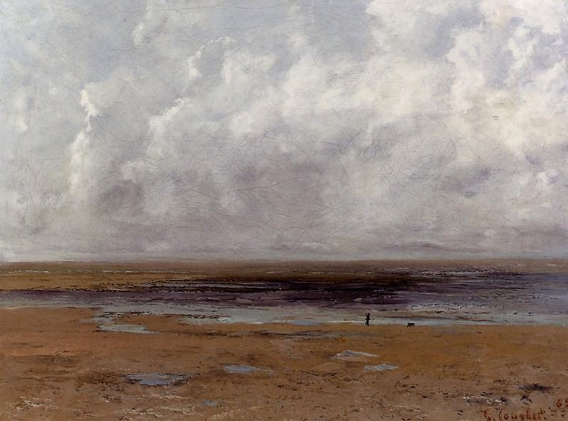 The Beach at Trouville at Low Tide. Gustave Courbet