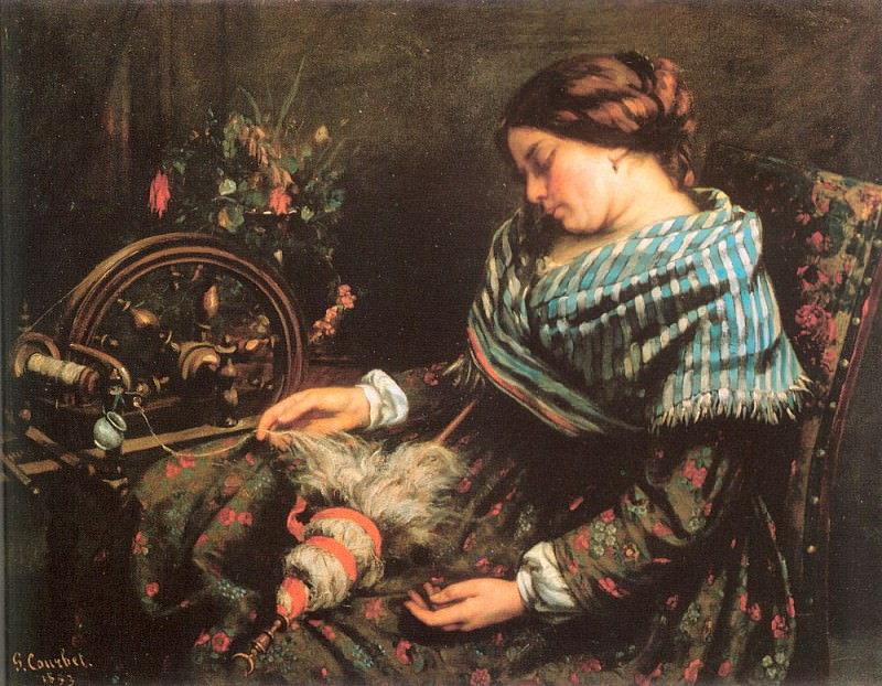 The Sleeping Spinner. Gustave Courbet