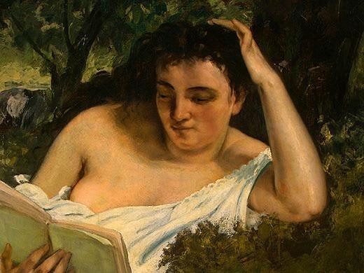 A Young Woman Reading, detalj 1, 1866-1868, NG Washi. Gustave Courbet