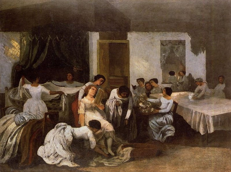 Dressing the Dead Girl (Dressing the Bride). Gustave Courbet