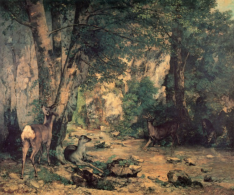 A Thicket of Deer at the Stream of Plaisir Fountaine. Gustave Courbet