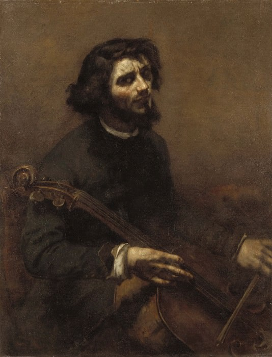 The Cellist (Self Portrait). Gustave Courbet