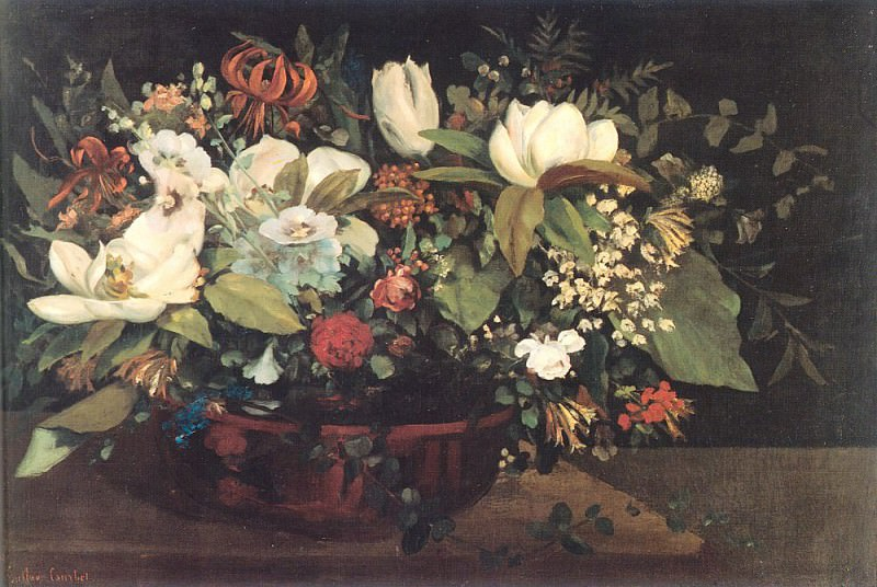 Basket of Flowers. Gustave Courbet